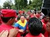 Multitudinaria marea roja recibió a Chávez en la zona sur