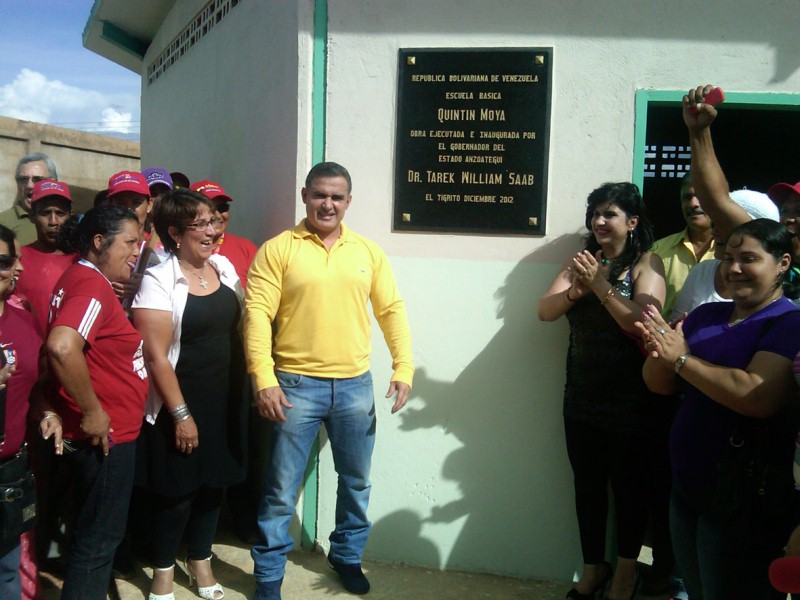 Tarek inaugur escuela bolivariana Quintn Moya en Guanipa